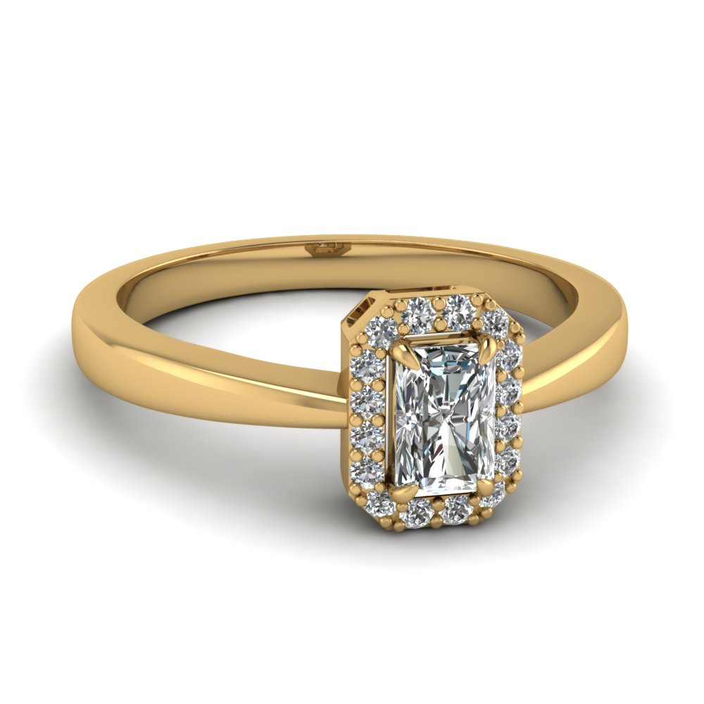 delicate radiant cut halo diamond engagement ring in FD1178RAR NL YG
