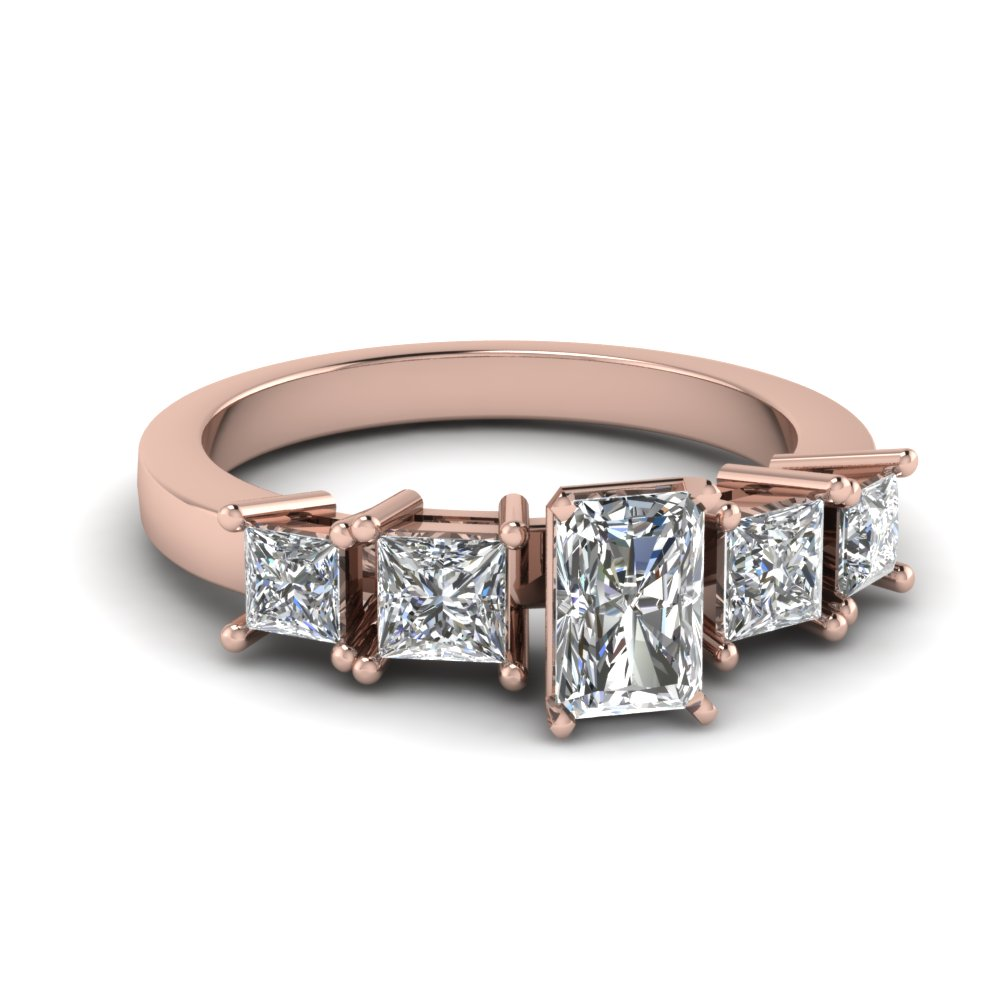 Radiant And Princess Cut Diamond Engagement Ring Rose Gold