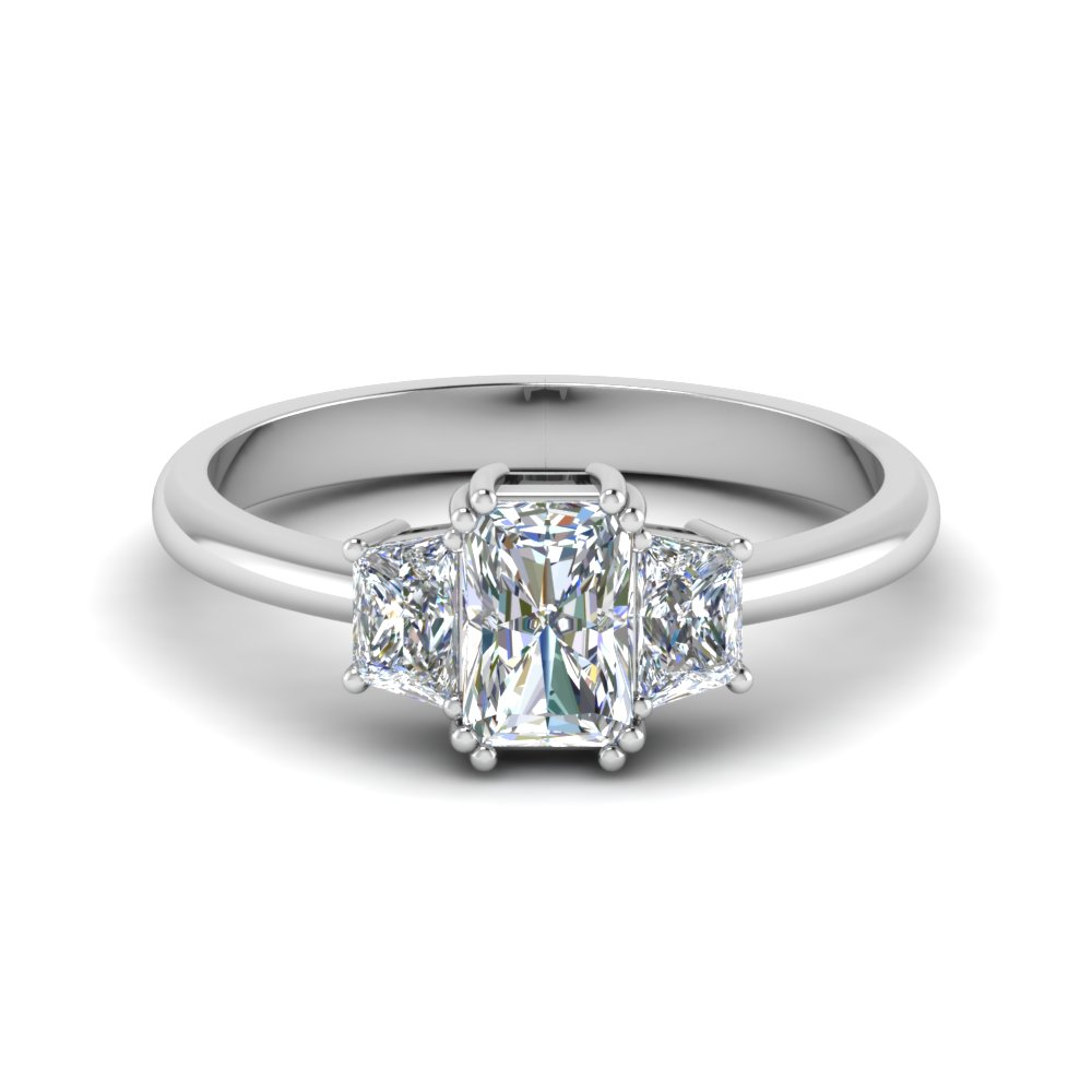 trapezoid radiant cut diamond engagement ring in FDENR7981RAR NL WG