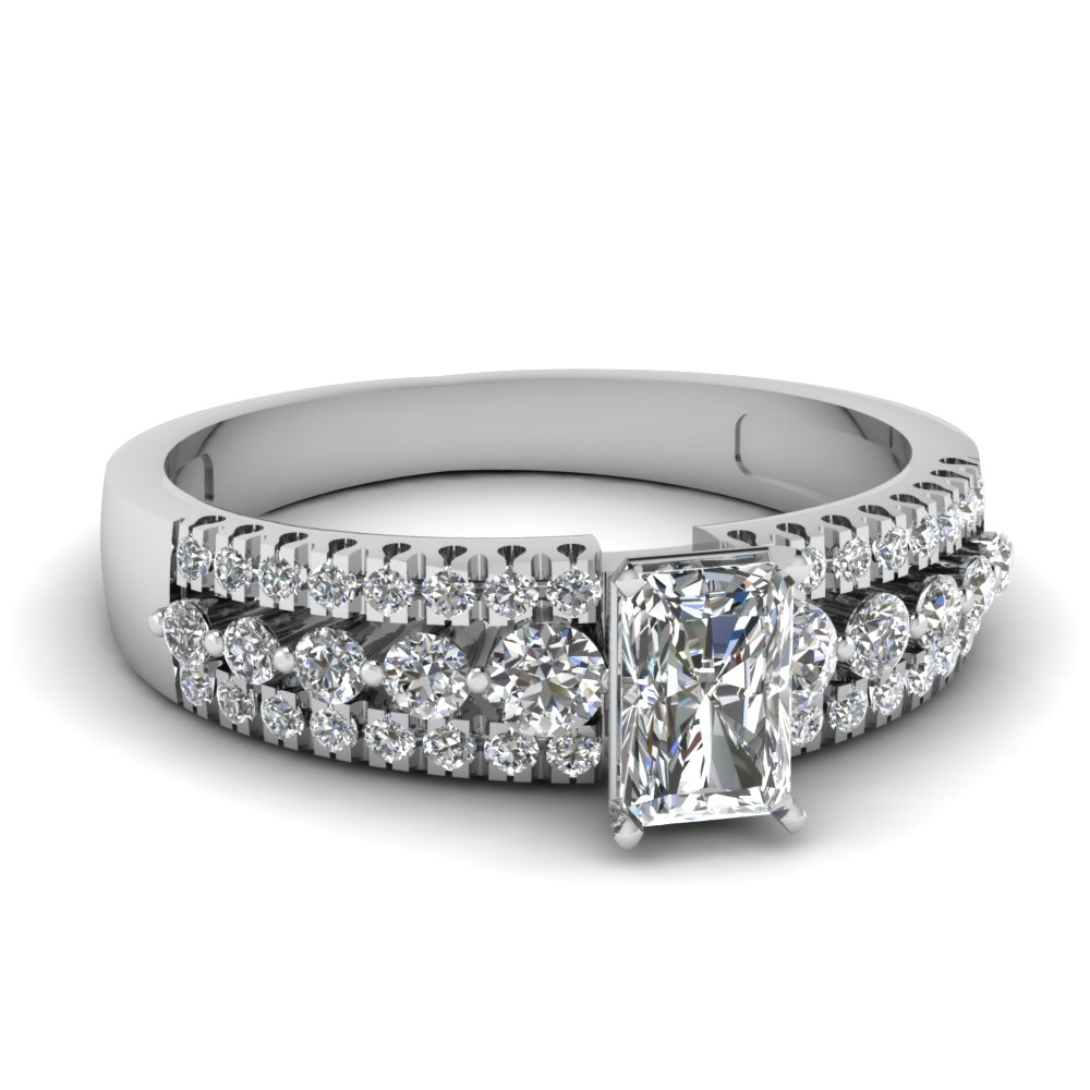 Wide Radiant Cut Diamond Ring