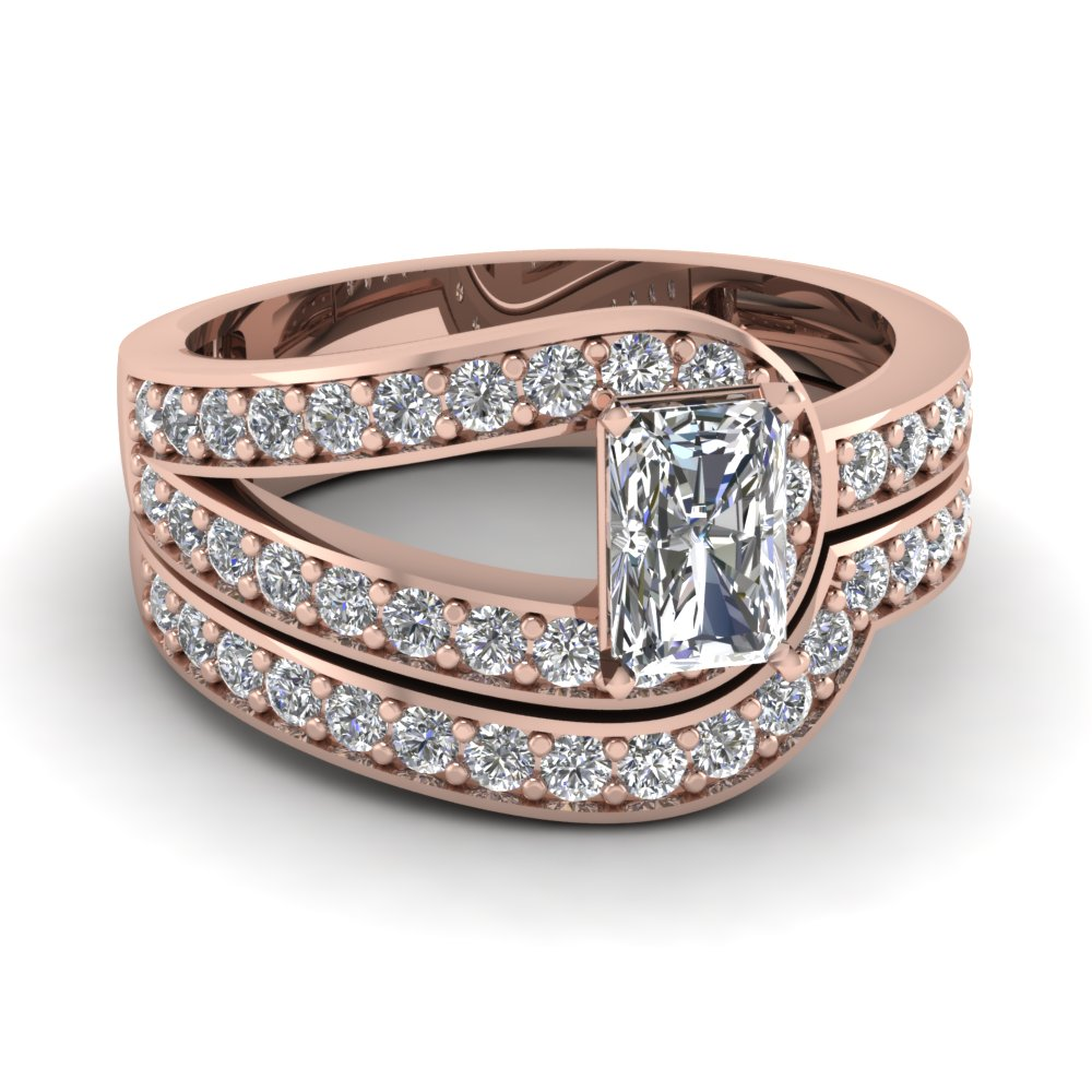 Radiant Cut Loop Pave Diamond Wedding Ring Set In 14K Rose