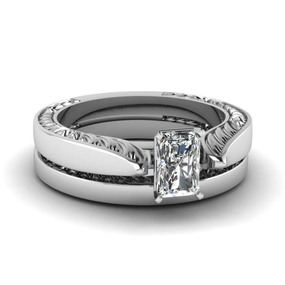tapered-engraved-radiant-cut-solitaire-wedding-ring-set-in-FD121971RA-NL-WG