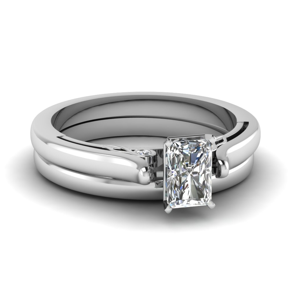 Radiant Cut Diamond Wedding Ring Sets With White Diamond In 14k White Gold