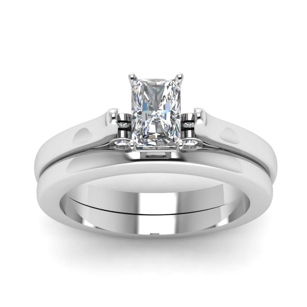 Radiant Cut Diamond Cathedral Wedding Ring Set In 14K White Gold