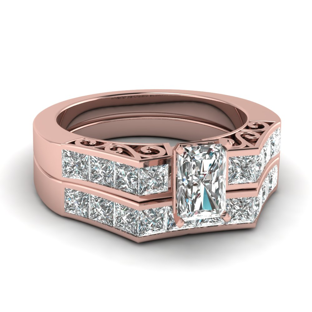 Radiant Rose Gold Wedding Ring Set