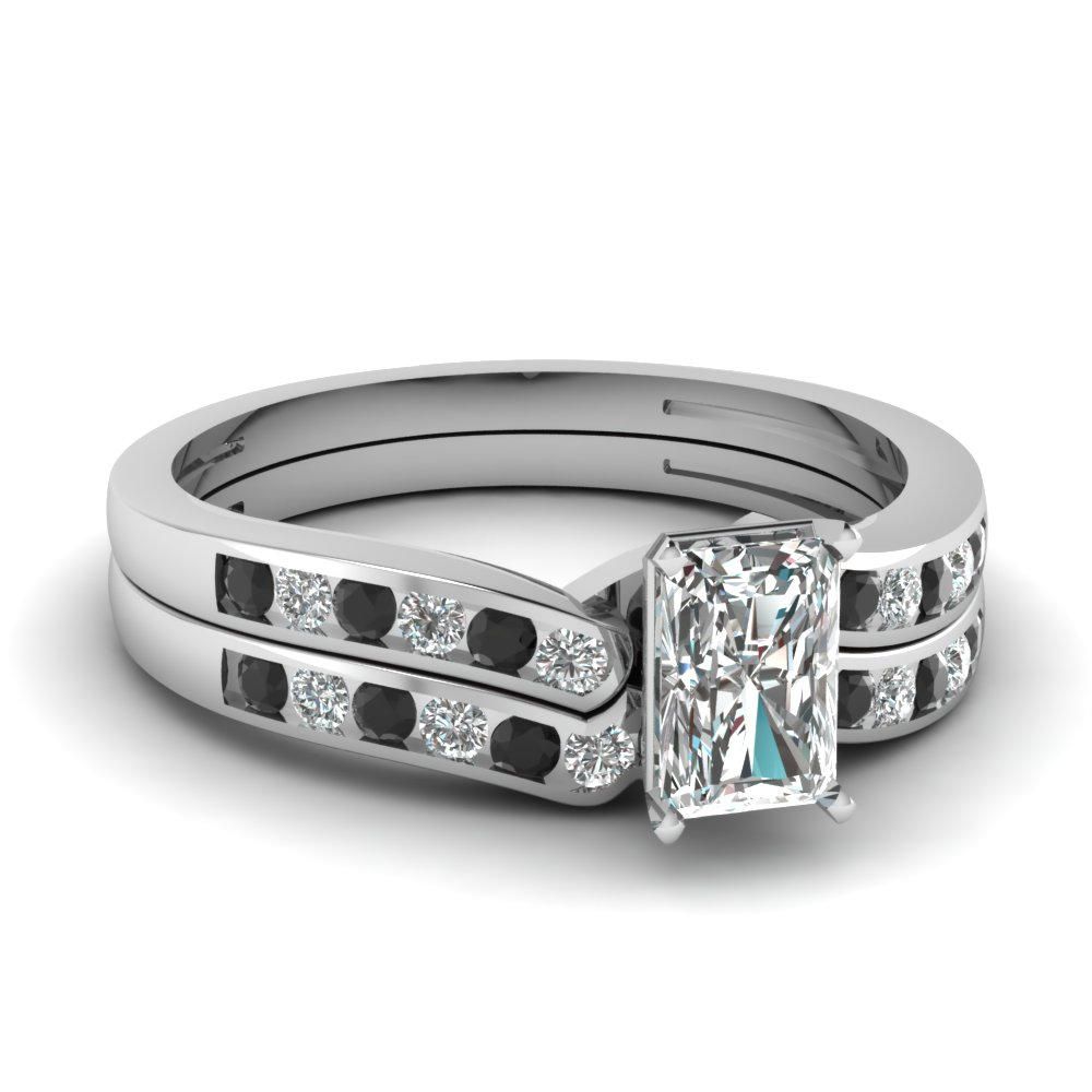 Radiant Cut Channel Ring Set