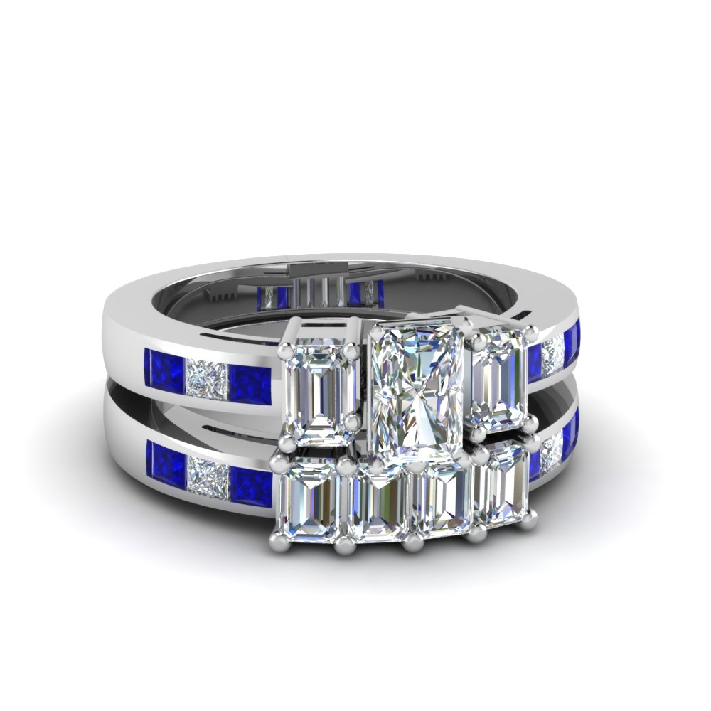 Sapphire Radiant Diamond Wedding Sets and Emerald Side Stones