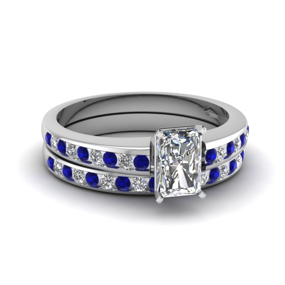 Radiant Diamond Sapphire Wedding Set