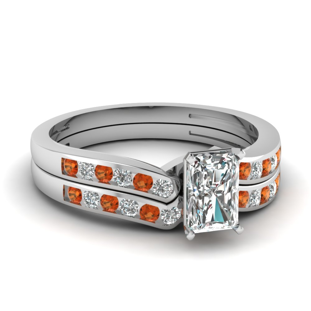 Radiant White Gold Wedding Ring Set