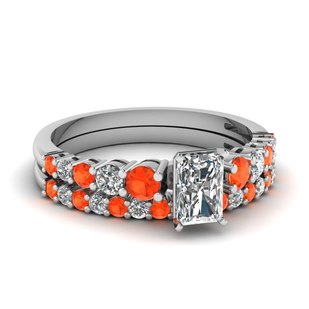 Platinum Orange Topaz Bridal Set