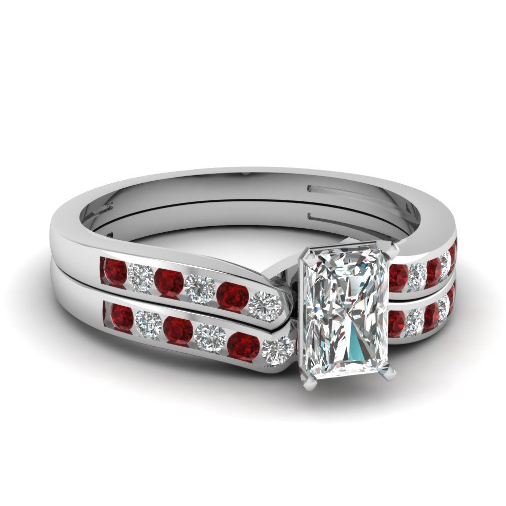 Radiant Cut Diamond Channel Bridal Set With Ruby In 14K White Gold