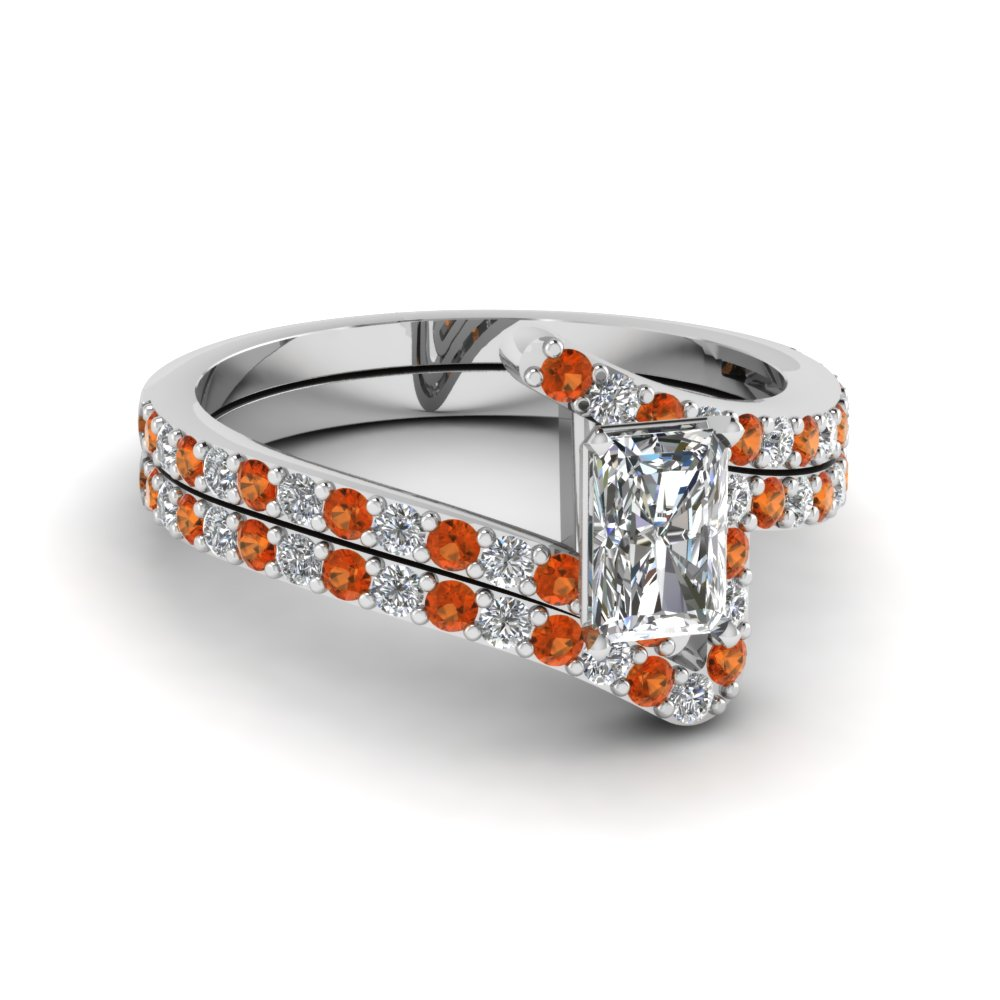 bypass radiant cut diamond bridal ring set with orange sapphire in FDENS3007RAGSAOR NL WG