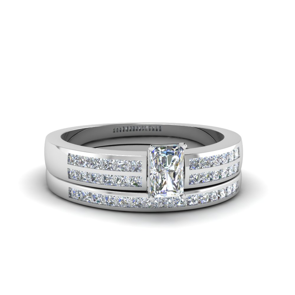 radiant cut double row channel diamond wide bridal set in FDENS3122RA NL WG.jpg