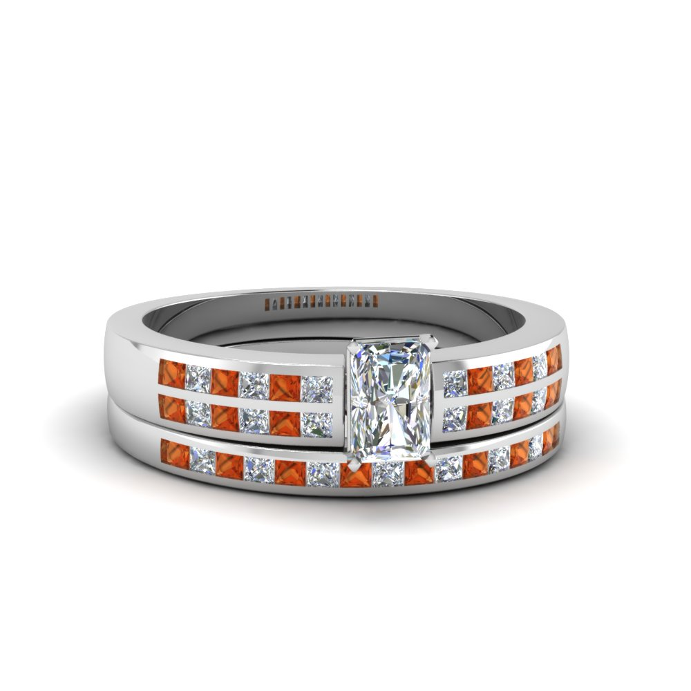 radiant cut double row channel diamond wide bridal set with orange sapphire in FDENS3122RAGSAOR NL WG.jpg