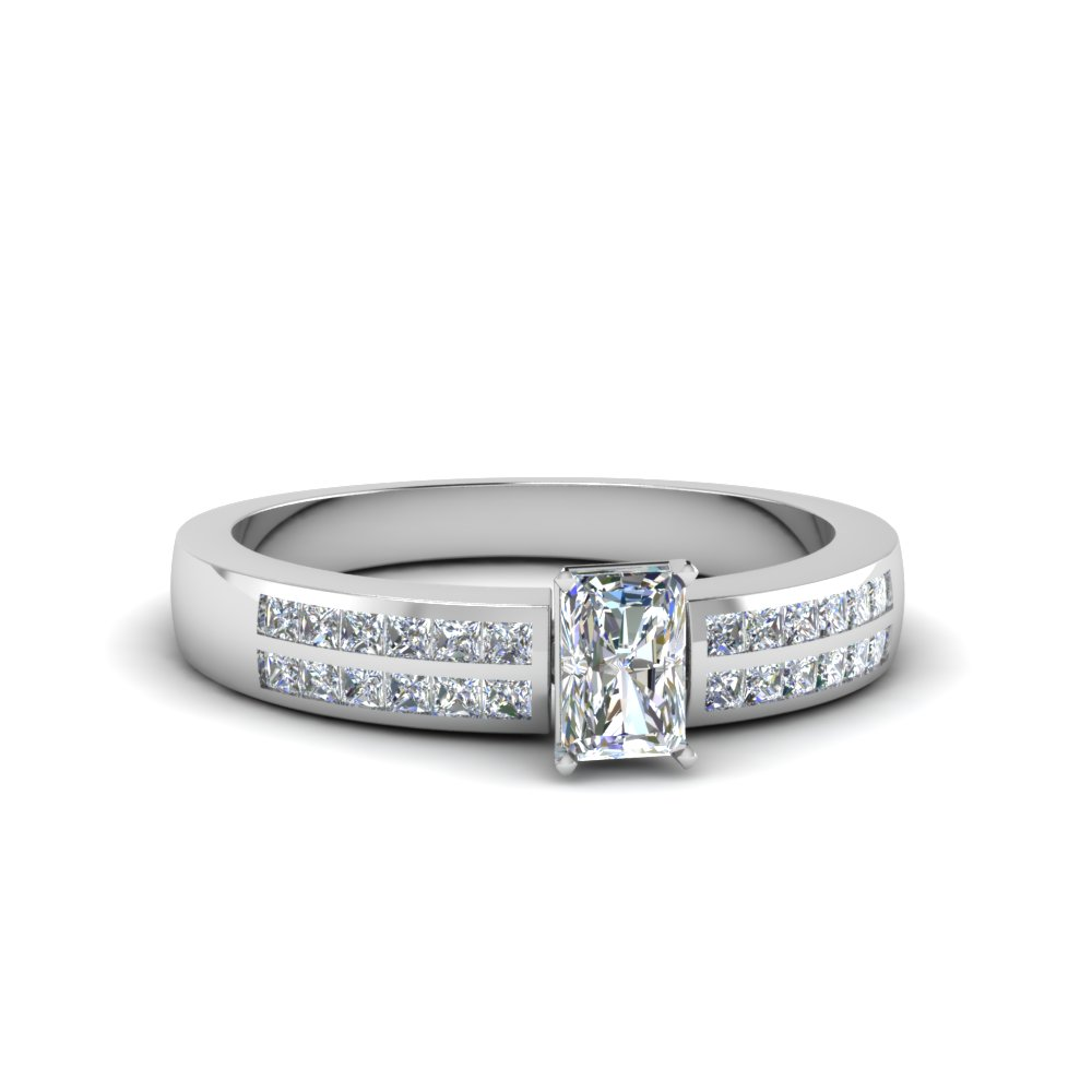 radiant cut double row channel diamond wide ring in 14K white gold FDENS3122RAR NL WG