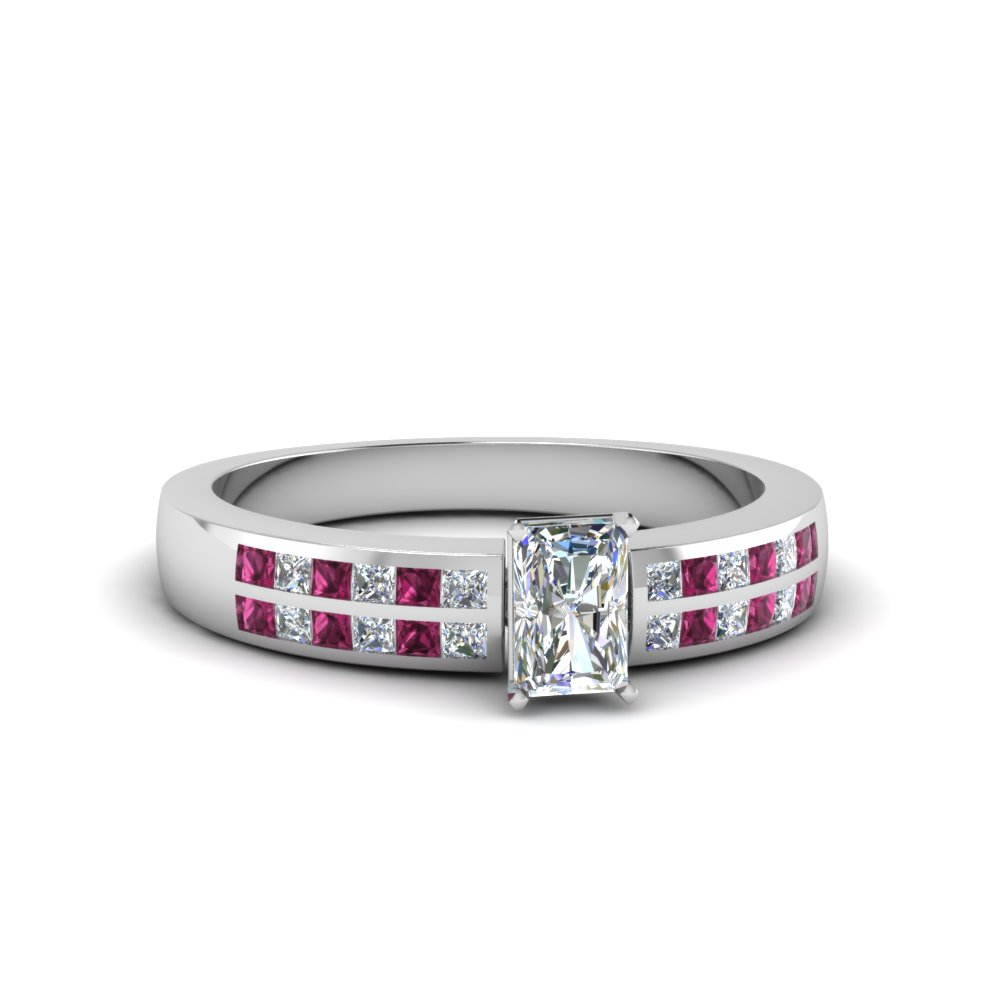 radiant cut double row channel diamond wide ring with pink sapphire in 14K white gold FDENS3122RARGSADRPI NL WG
