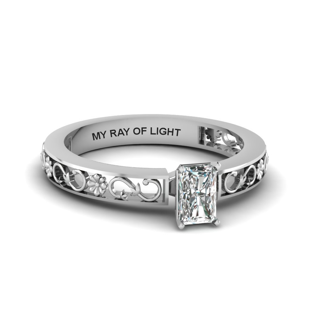 Engraved Solitaire Radiant Cut Diamond Ring