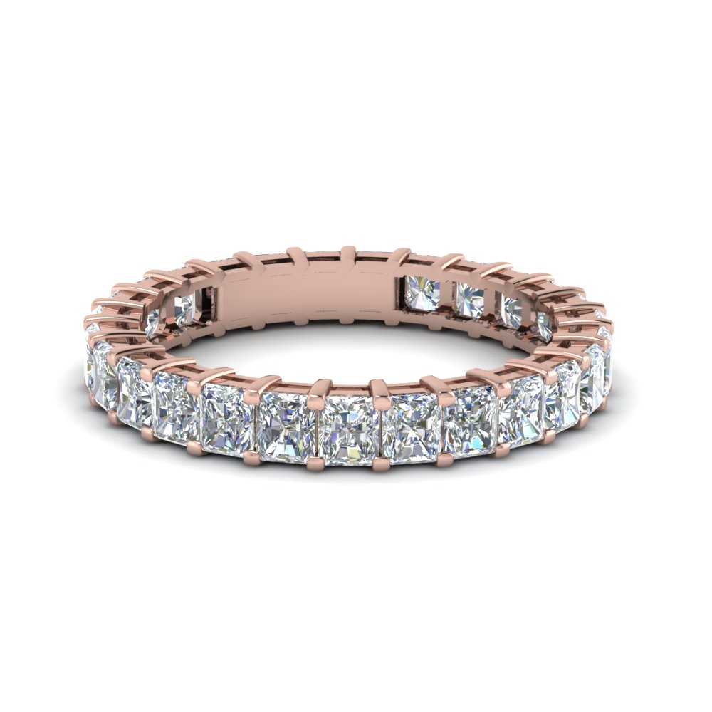 Radiant Cut Eternity Diamond Band In 14K Rose Gold