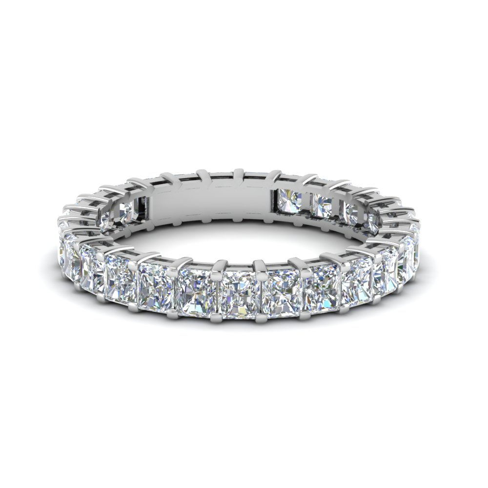 14K White Gold Radiant Eternity Band