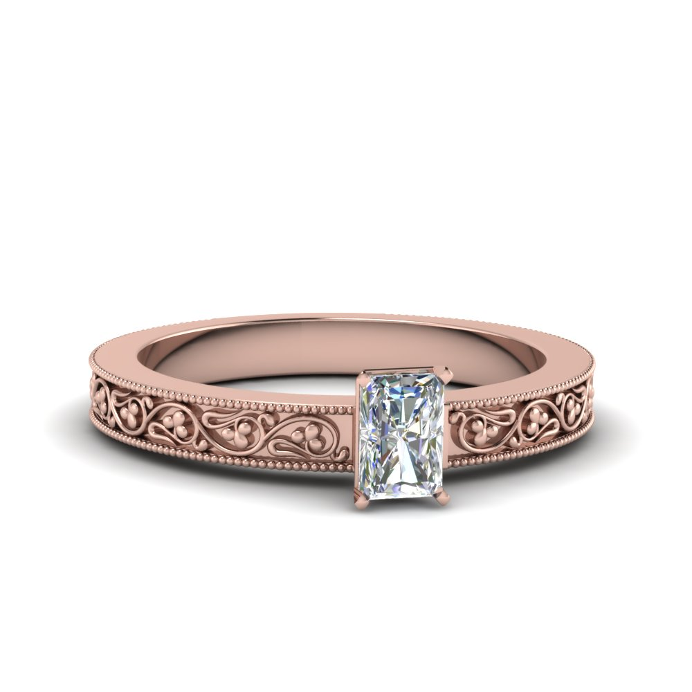 radiant cut filigree solitaire diamond engagement ring for women in 18K rose gold FDENS3627RAR NL RG