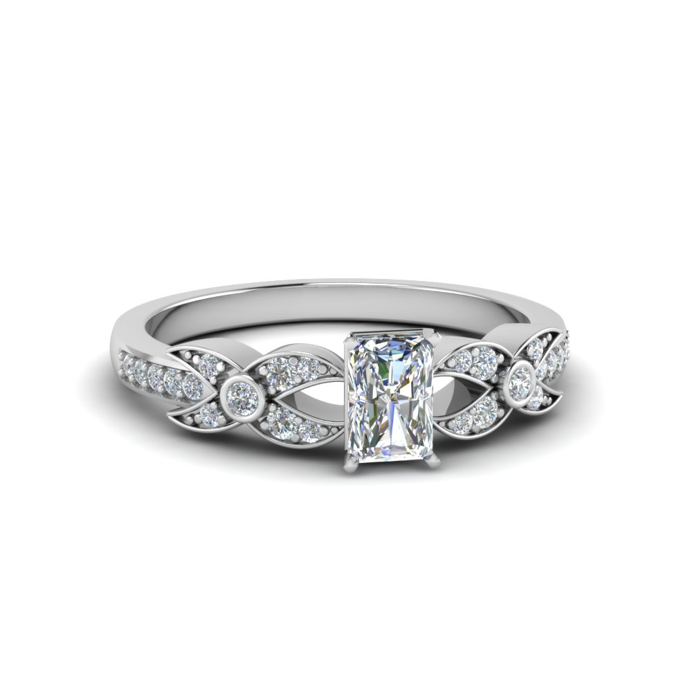 radiant cut flower pave diamond ring in 18K white gold FDENS3322RAR NL WG