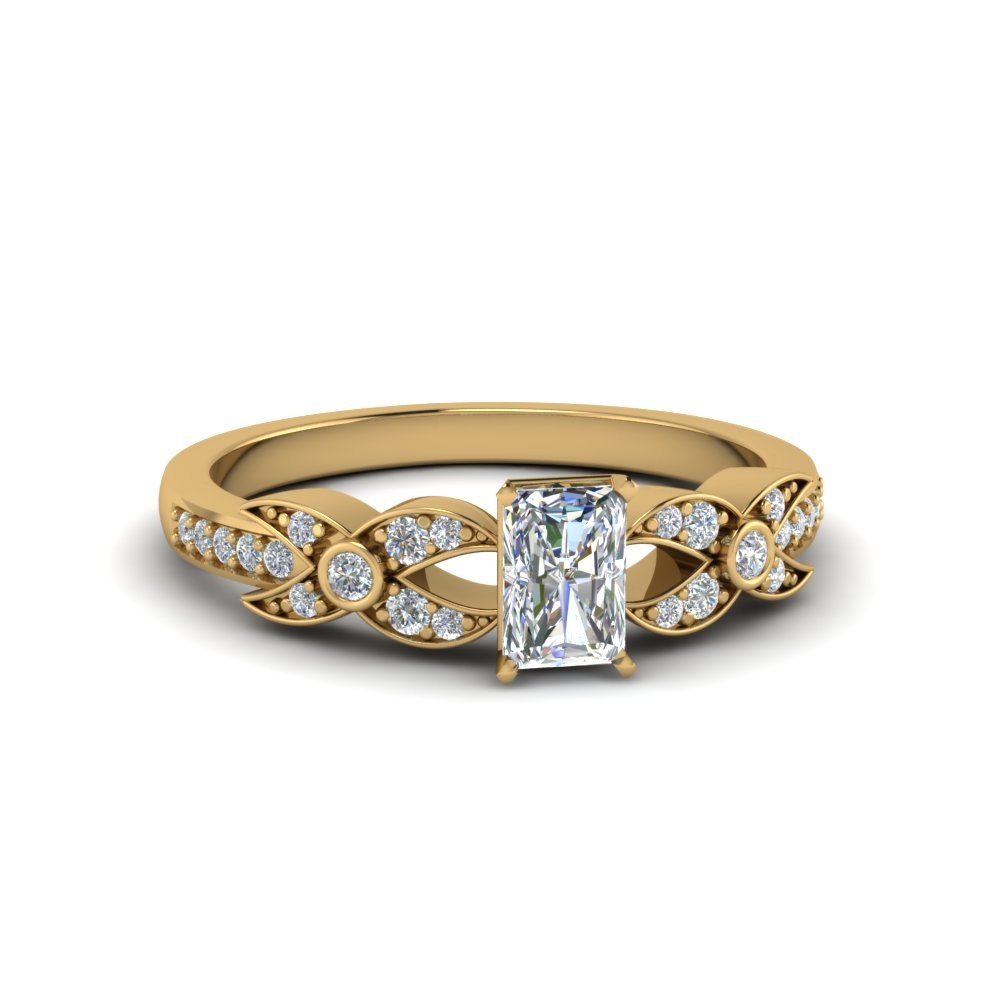radiant cut flower pave diamond ring in 18K yellow gold FDENS3322RAR NL YG