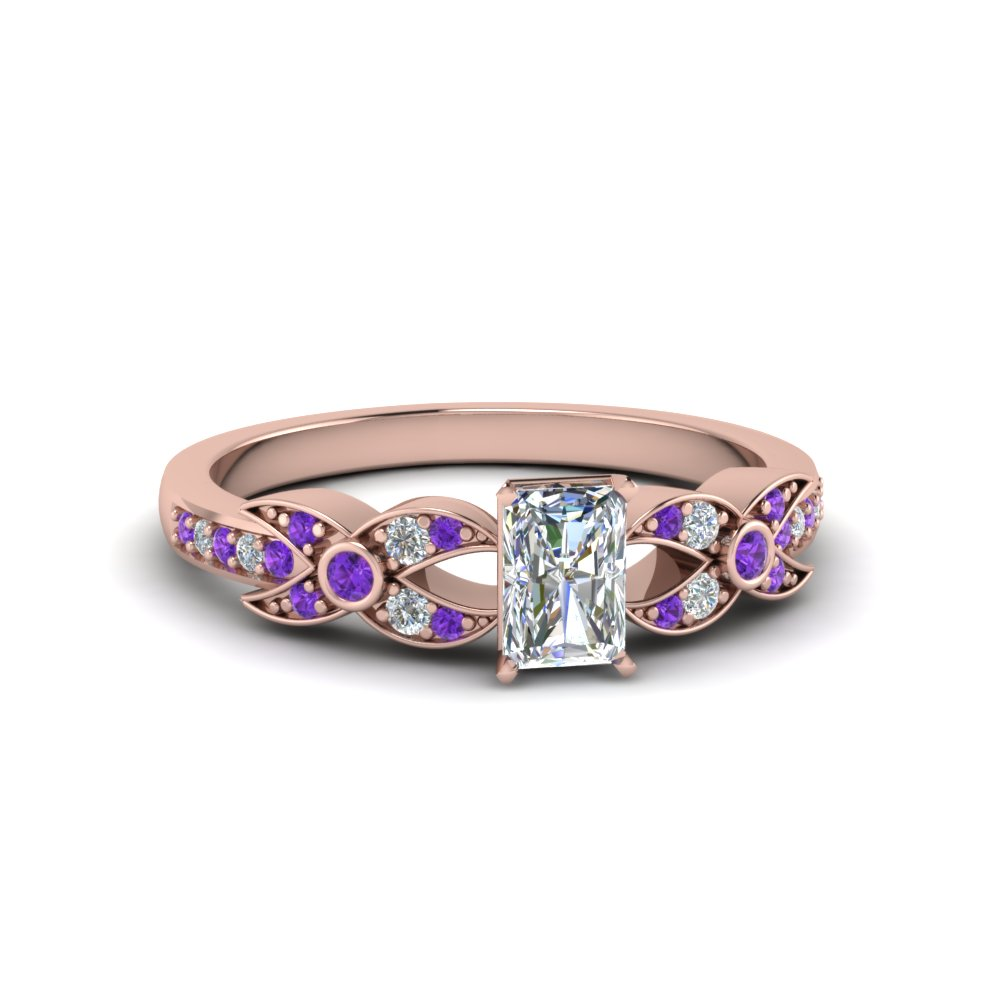 X Pattern Diamond Ring With Purple Topaz