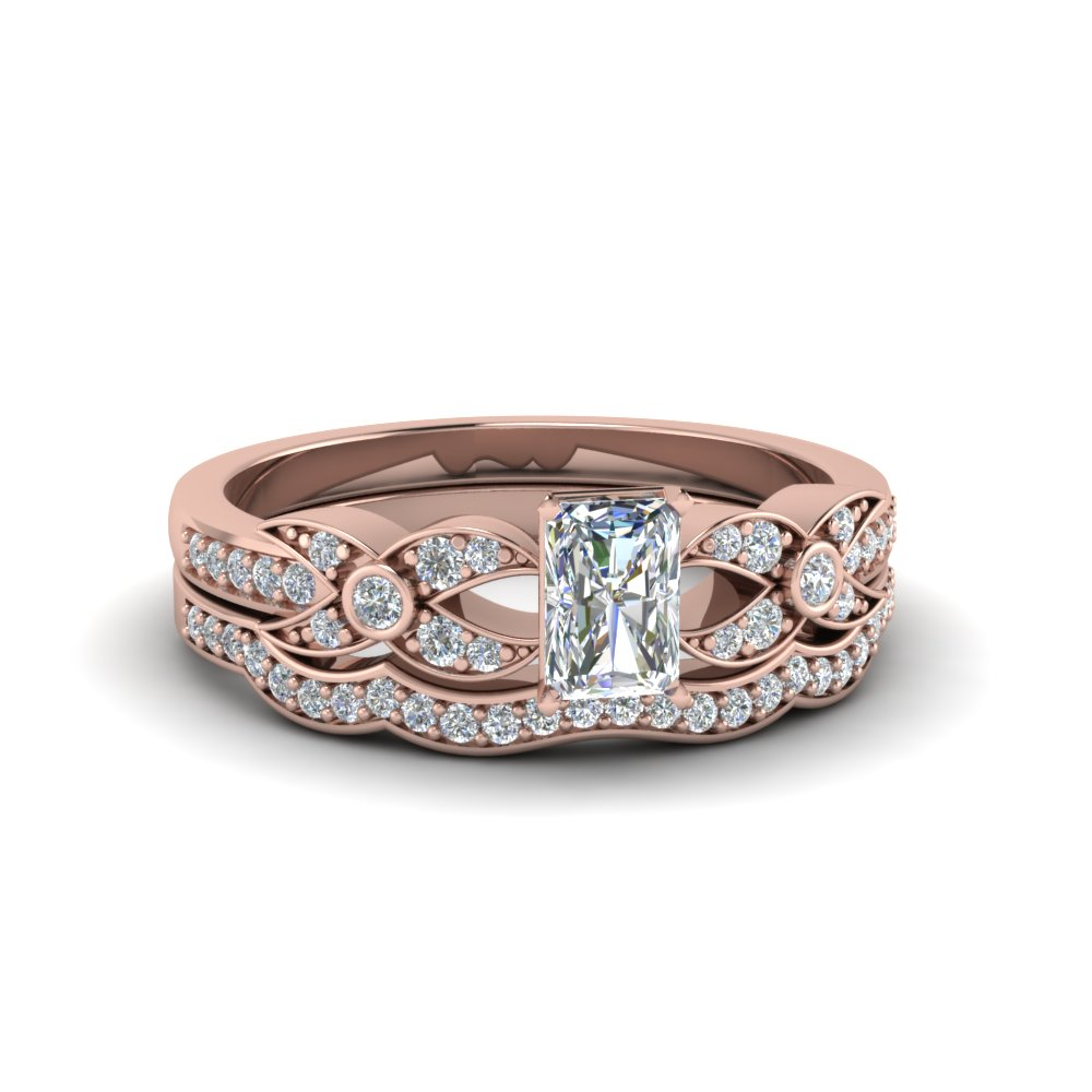 radiant cut flower pave diamond wedding ring set in FDENS3322RA NL RG