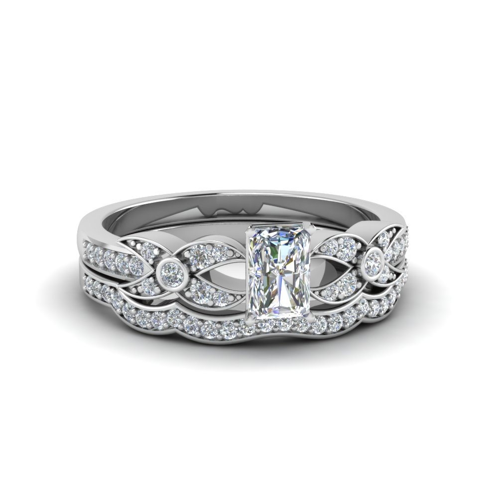 radiant cut flower pave diamond wedding ring set in FDENS3322RA NL WG