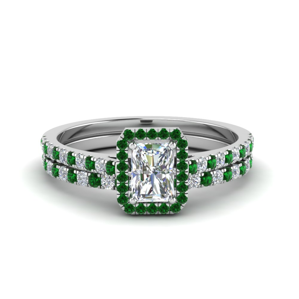 Delicate Emerald Halo Bridal Set