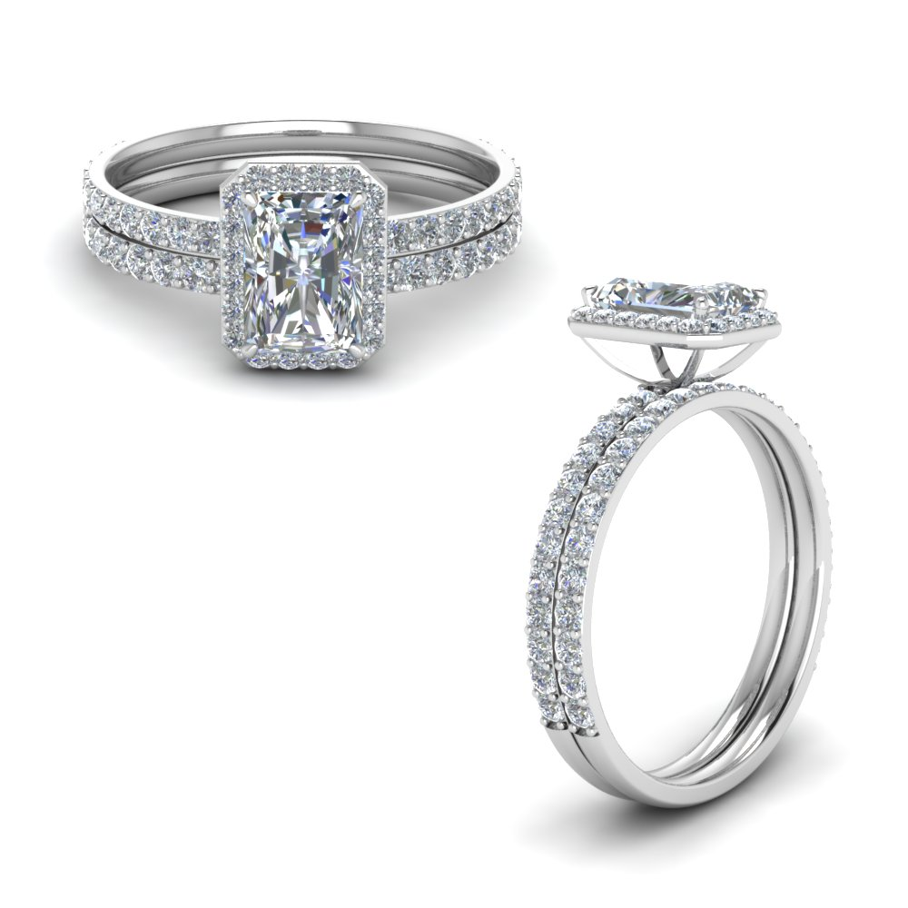 radiant cut halo diamond bridal set in FD8502RAANGLE1 NL WG