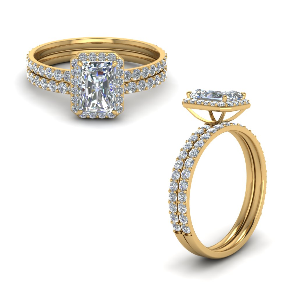 radiant cut halo diamond bridal set in FD8502RAANGLE1 NL YG