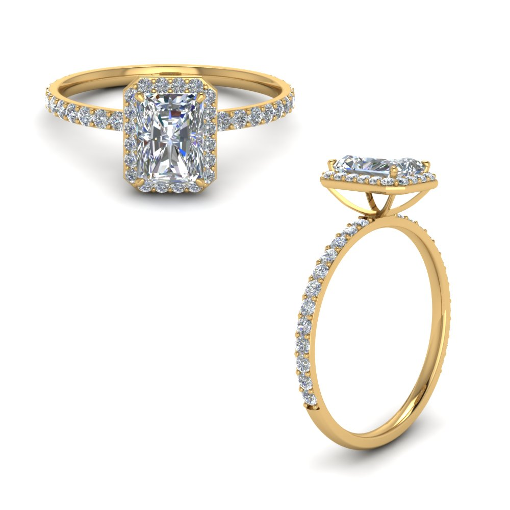 radiant cut halo diamond engagement ring in FD8502RARANGLE1 NL YG