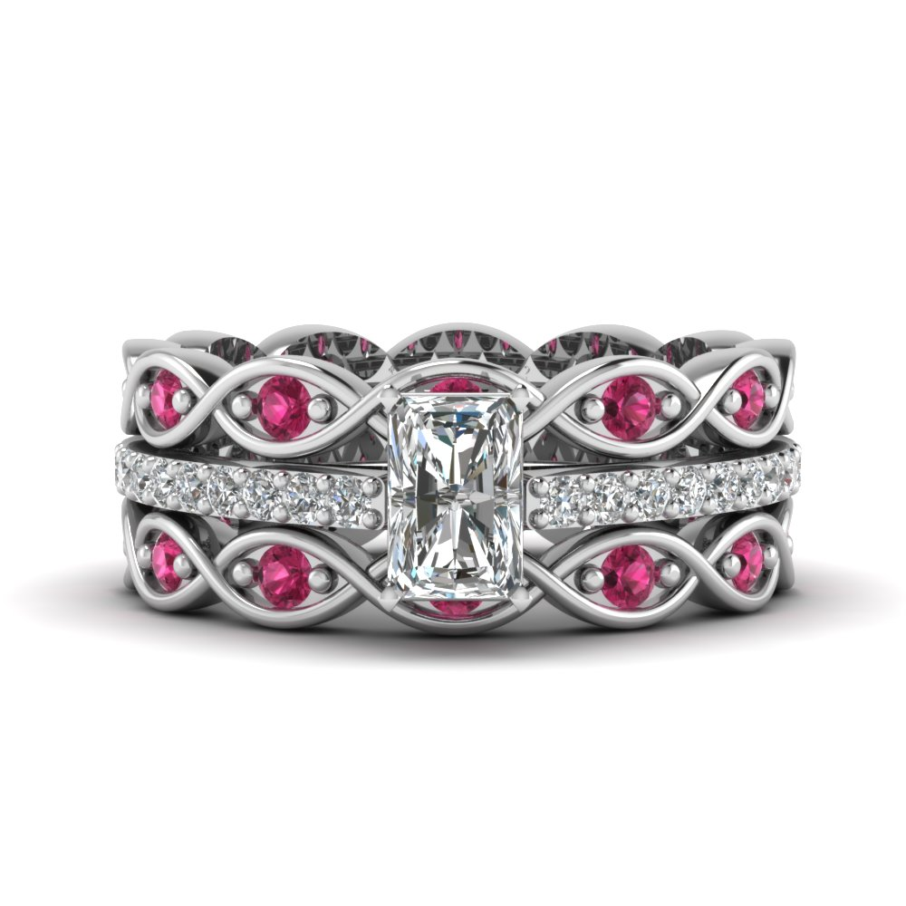 radiant cut trio infinity band moissanite ring sets with pink sapphire in FD8047TRAGSADRPIANGLE1 NL WG