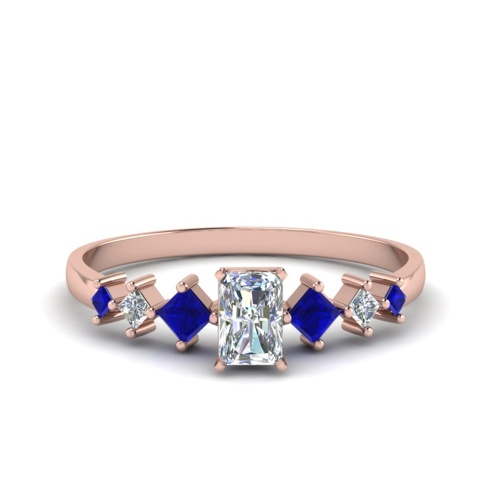 radiant cut kite set diamond ring with sapphire in 14K rose gold FDENS3126RARGSABL NL RG