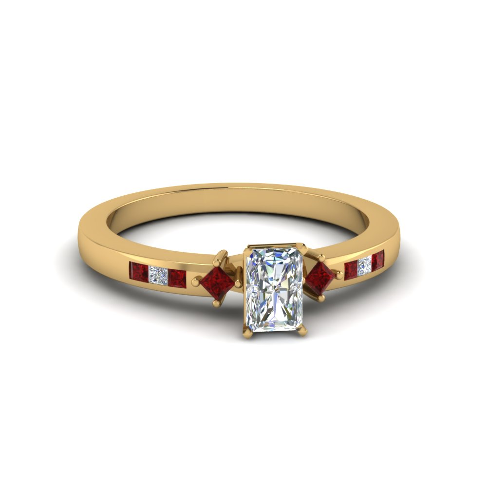 radiant cut kite style channel set accent diamond engagement ring with ruby in 14K yellow gold FDENS3121RARGRUDR NL YG