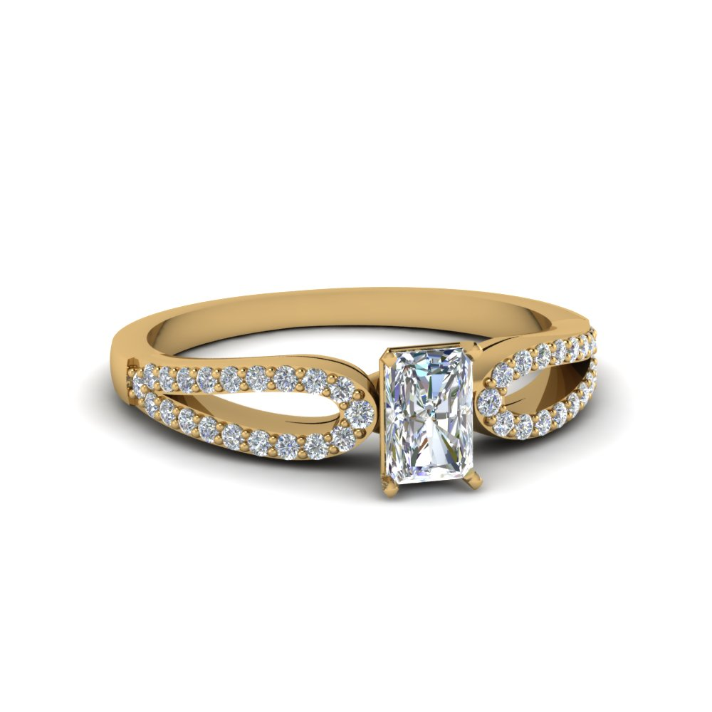 radiant cut split Shank loop diamond engagement ring in 14K yellow gold FDENS3323RAR NL YG