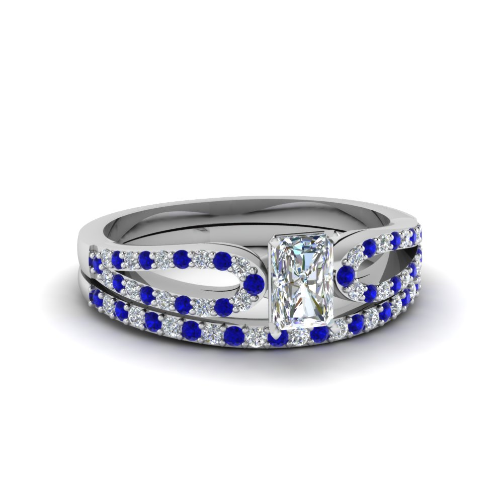 radiant cut loop diamond ring with sapphire matching band in 14K white gold FDENS3323RAGSABL NL WG