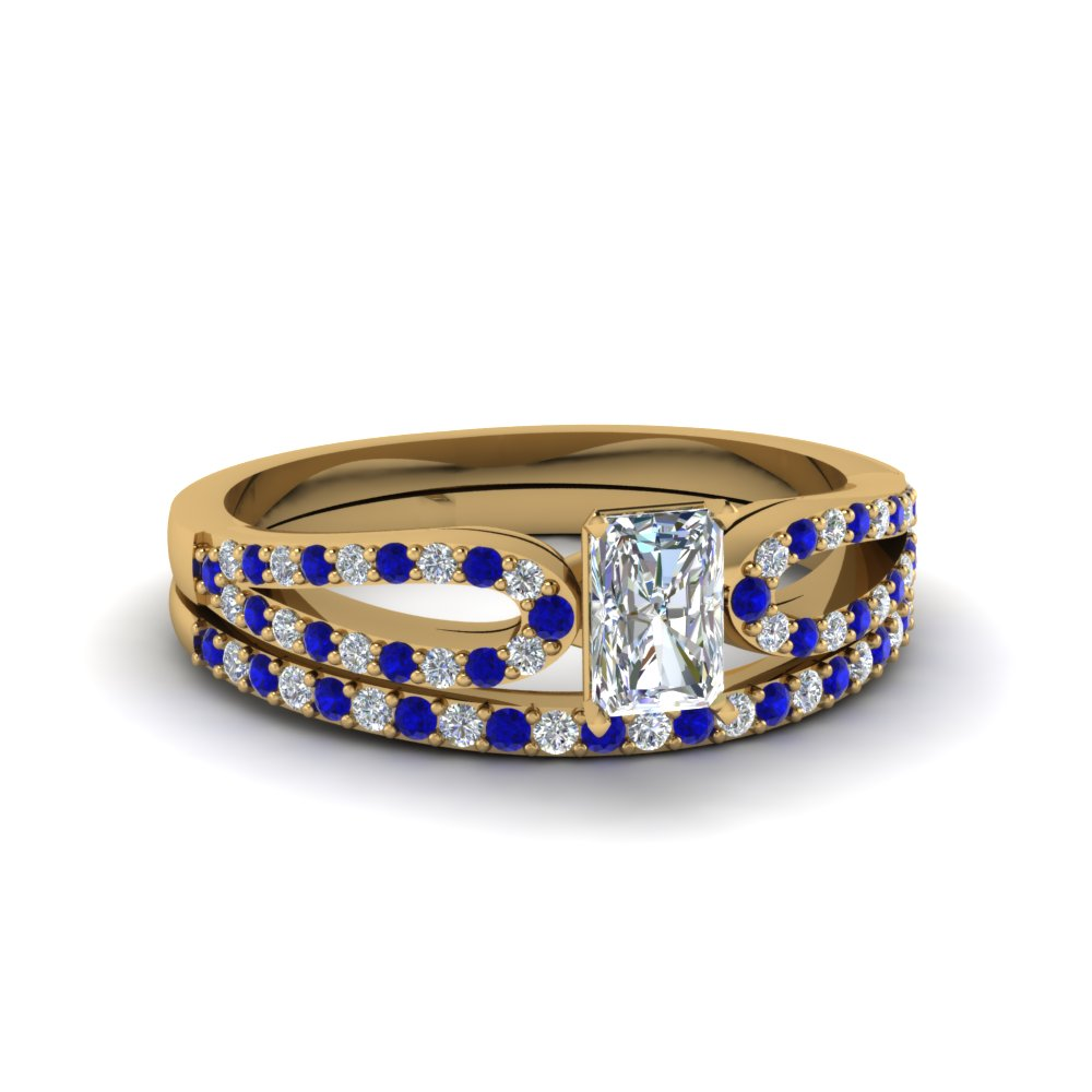 radiant cut loop diamond ring with sapphire matching band in 14K yellow gold FDENS3323RAGSABL NL YG