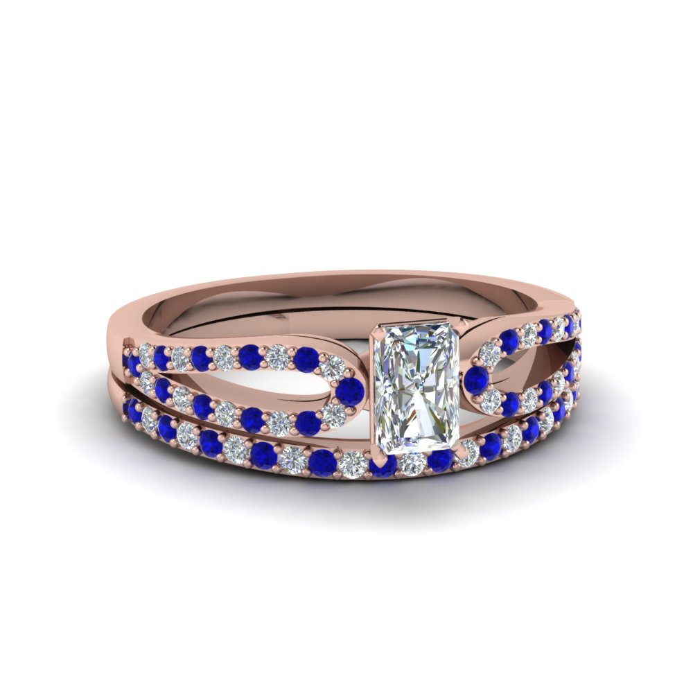 radiant cut loop diamond ring with sapphire matching band in 18K rose gold FDENS3323RAGSABL NL RG