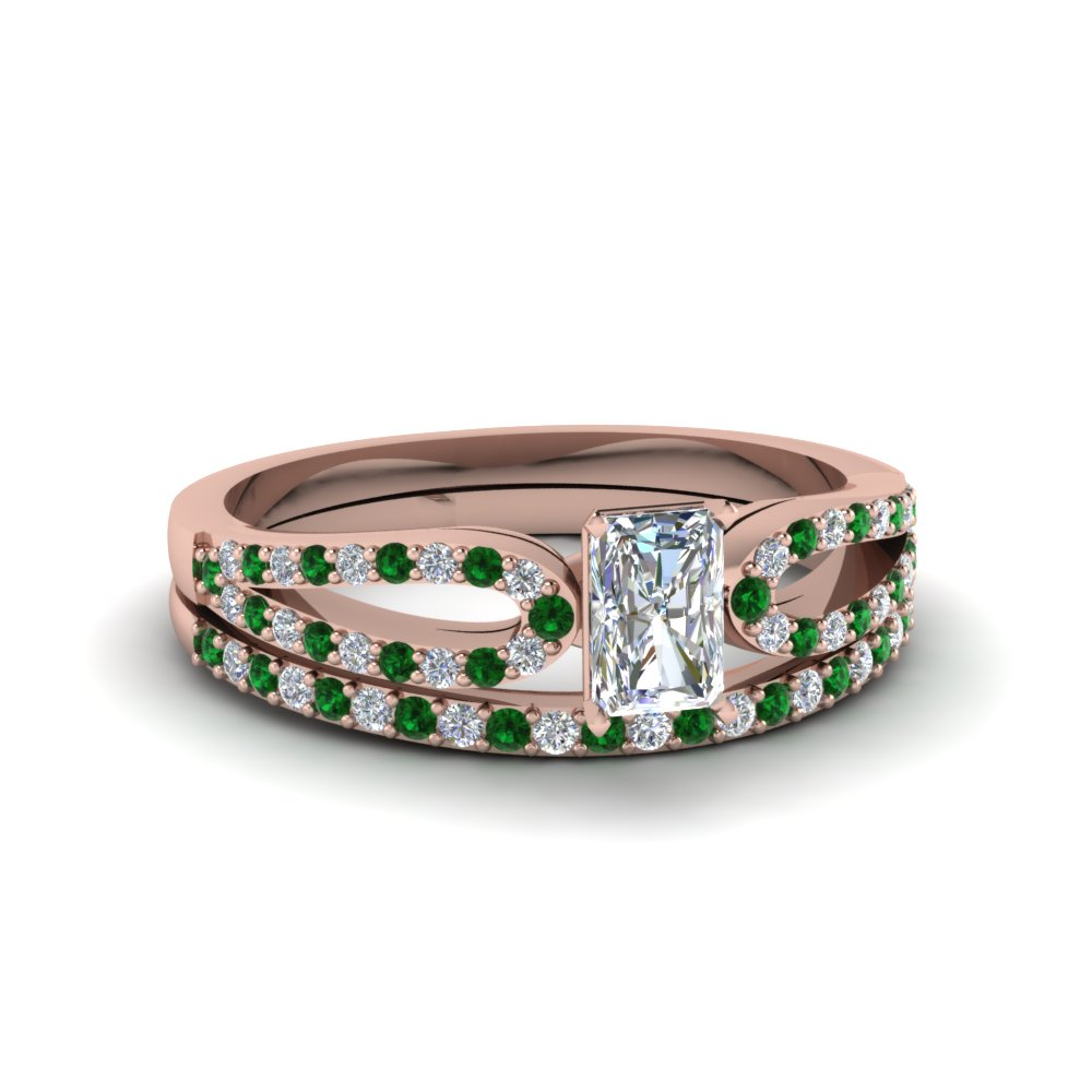 radiant cut loop diamond ring with emerald matching band in 14K rose gold FDENS3323RAGEMGR NL RG