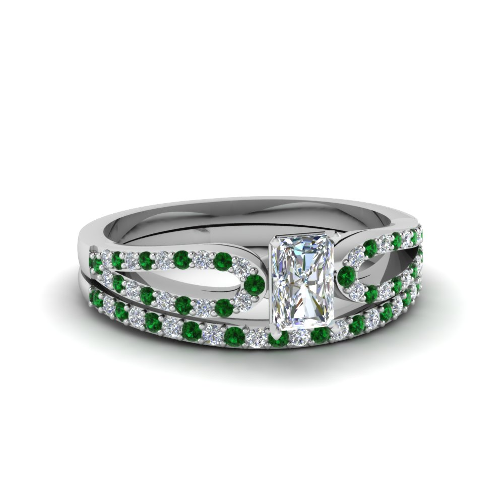 Radiant Cut Green Emerald Wedding Sets