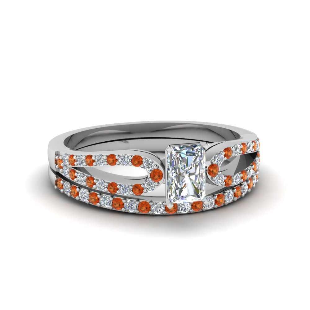 radiant cut loop diamond ring with orange sapphire matching band in 14K white gold FDENS3323RAGSAOR NL WG