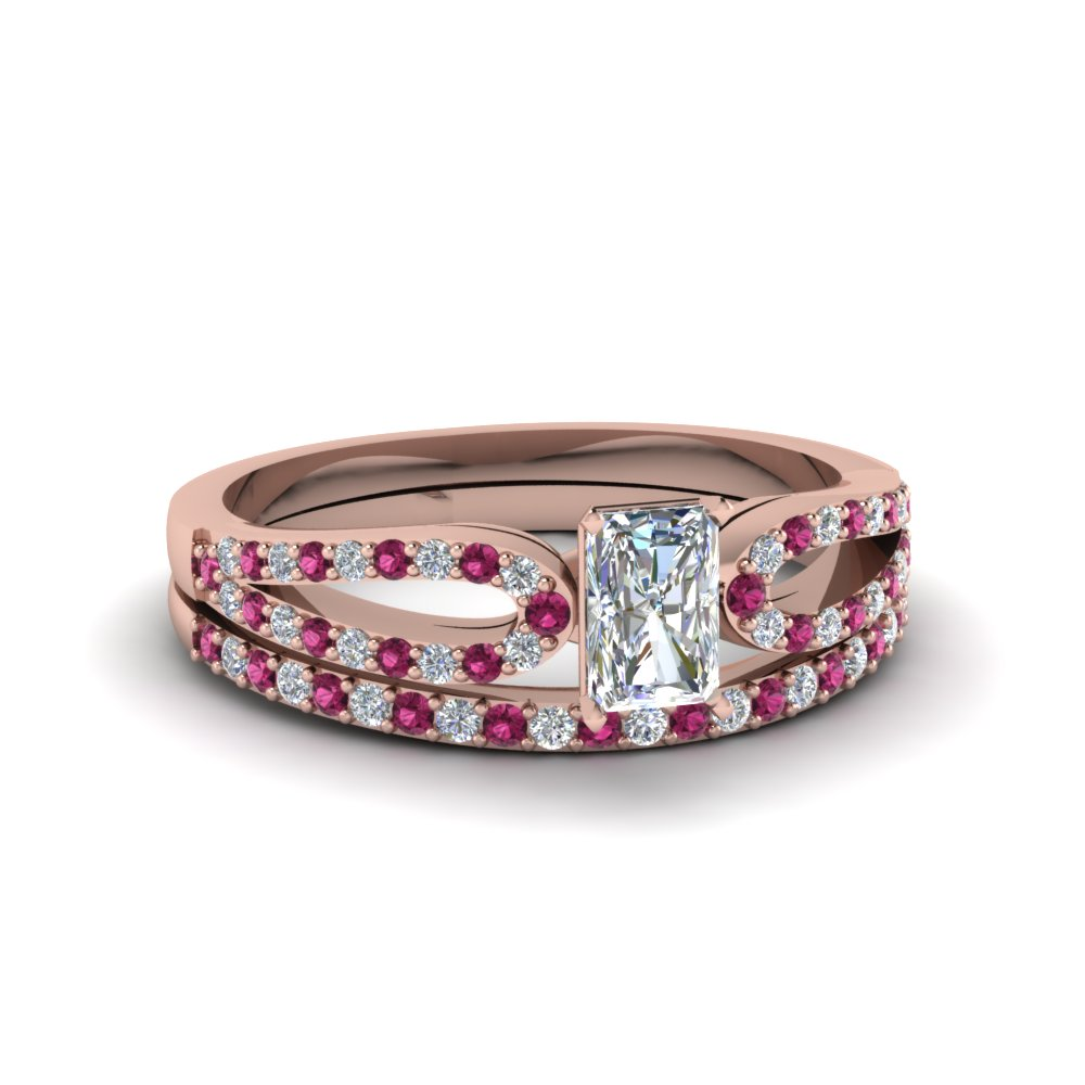 radiant cut loop diamond ring with pink sapphire matching band in 14K rose gold FDENS3323RAGSADRPI NL RG