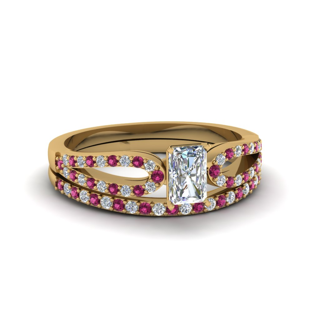 radiant cut loop diamond ring with pink sapphire matching band in 14K yellow gold FDENS3323RAGSADRPI NL YG