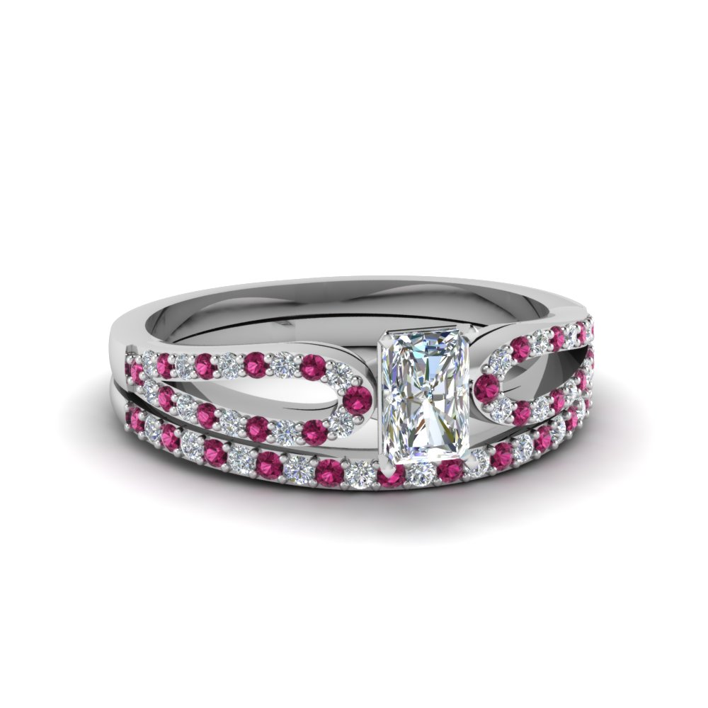 radiant cut loop diamond ring with pink sapphire matching band in 950 platinum FDENS3323RAGSADRPI NL WG