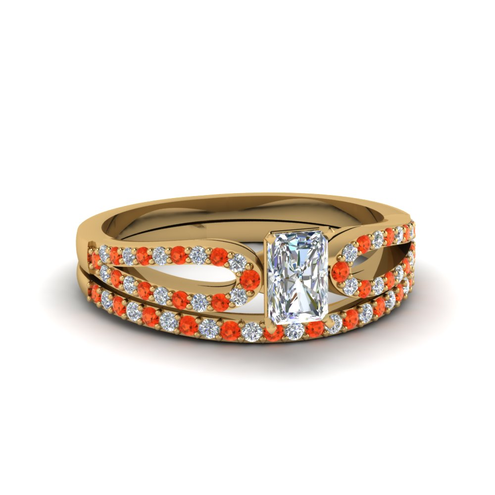 radiant cut loop diamond ring with orange topaz matching band in 14K yellow gold FDENS3323RAGPOTO NL YG