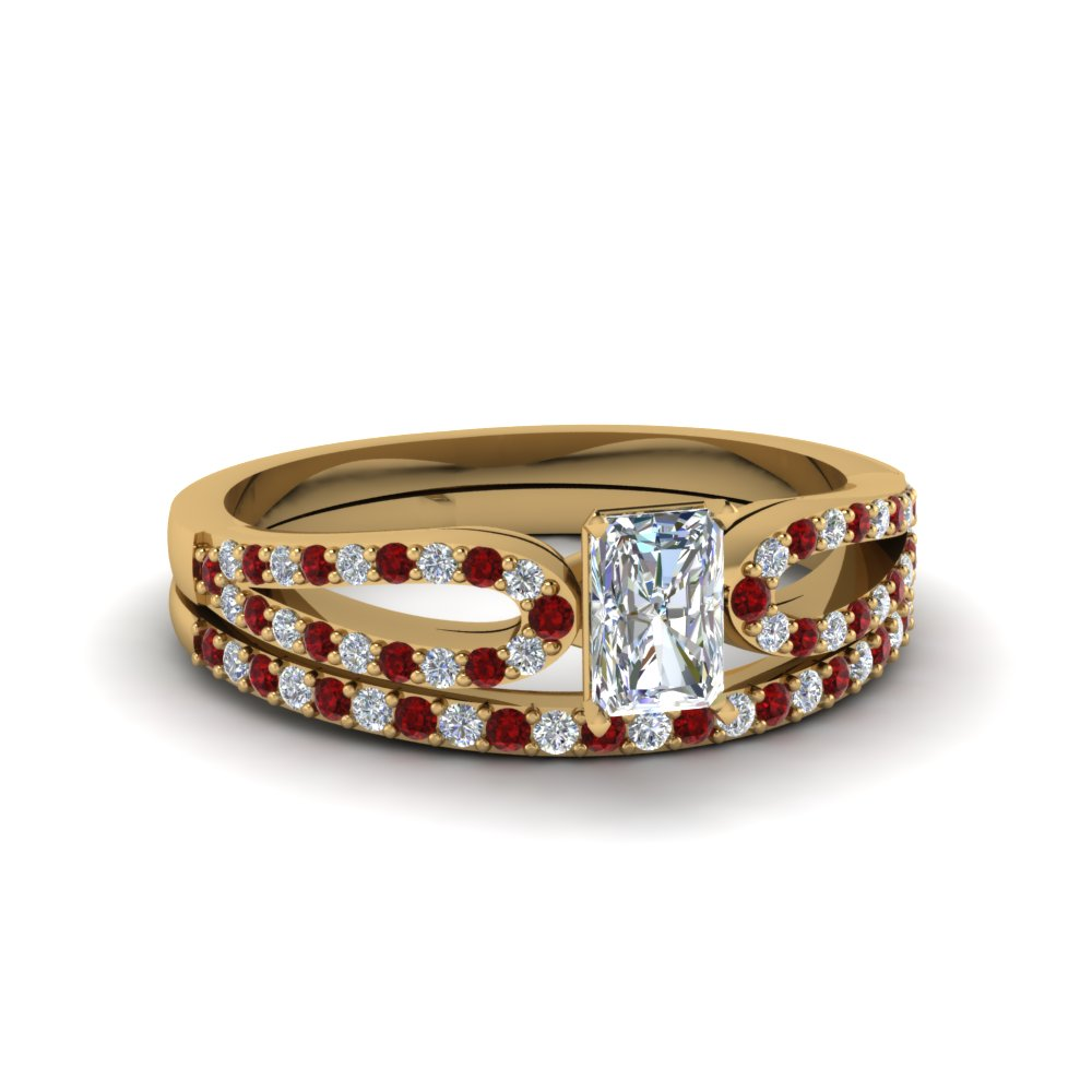 radiant cut loop diamond ring with ruby matching band in 18K yellow gold FDENS3323RAGRUDR NL YG