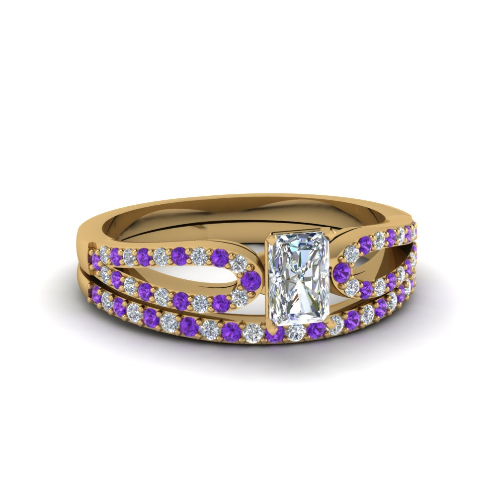 radiant cut loop diamond ring with violet topaz matching band in 18K yellow gold FDENS3323RAGVITO NL YG