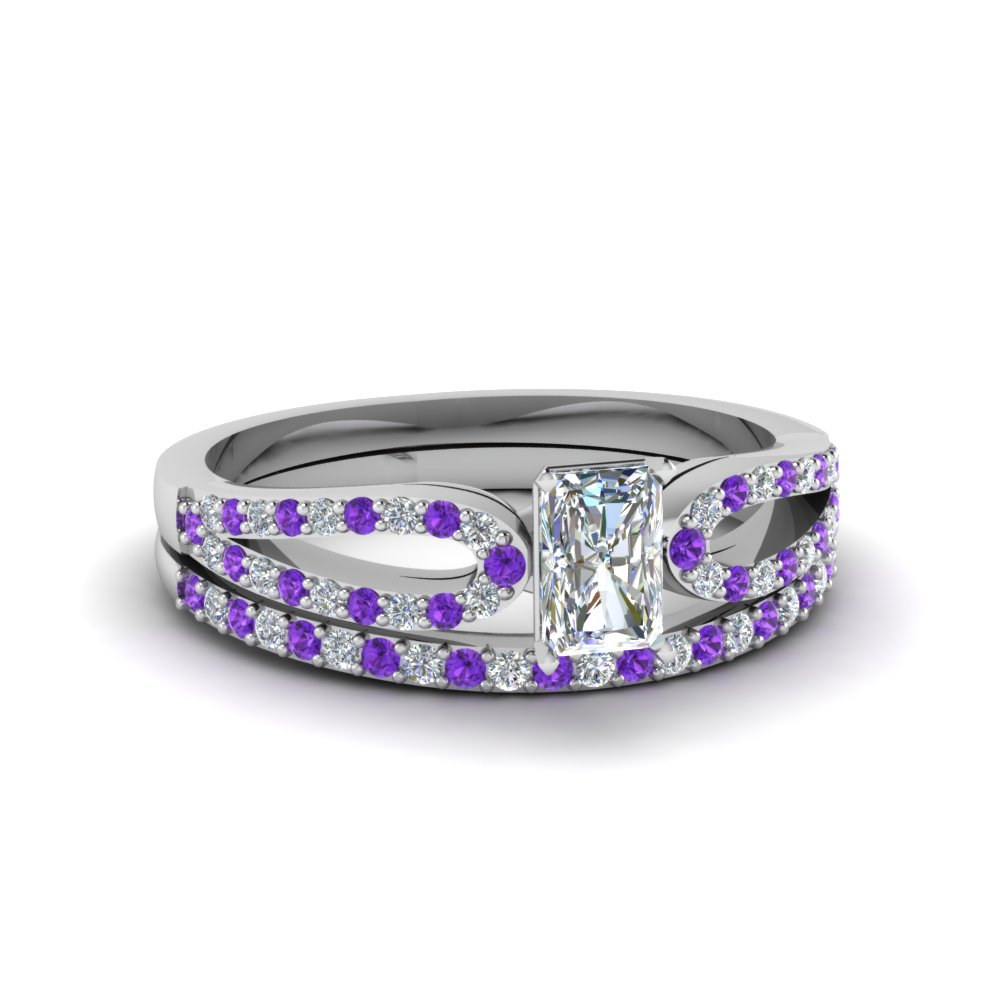 radiant cut loop diamond ring with violet topaz matching band in 950 platinum FDENS3323RAGVITO NL WG